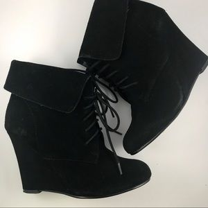 Loft Lace Up Leather Wedge Boots Booties 5.5 Black